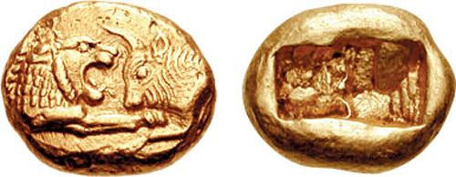Primeira moeda acuñada da historia (600 a.C) Está feita con electro (aleación de ouro e prata)
