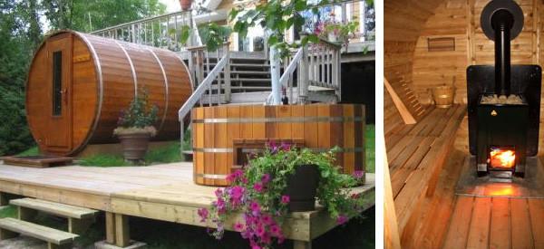 conjunto sauna y hot tub en casa de montaña