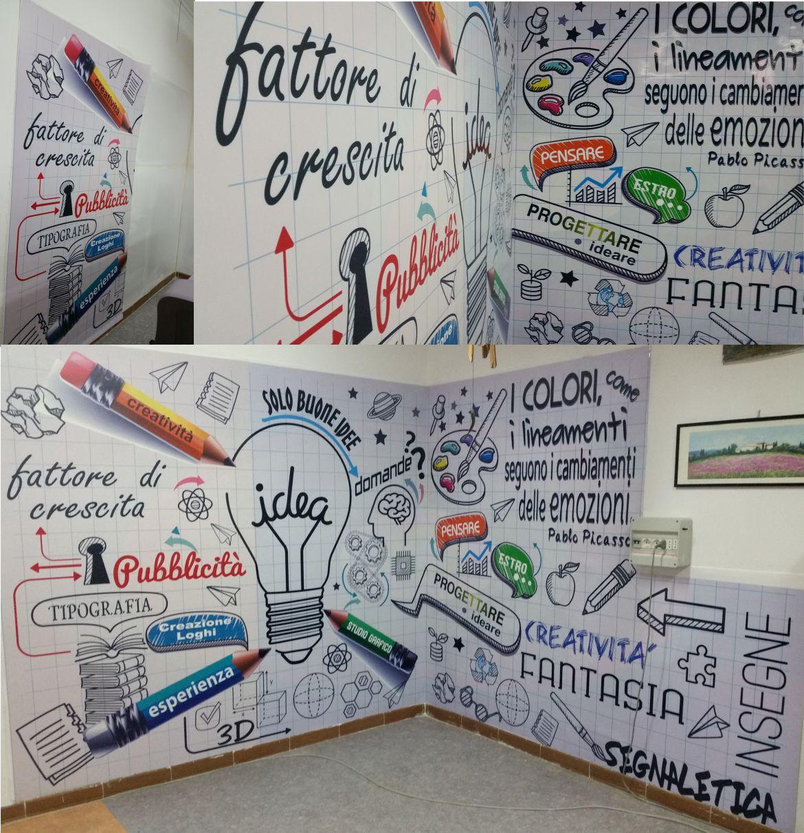 adesivi personalizzati, stickers customized, carta da parati applicata su muro