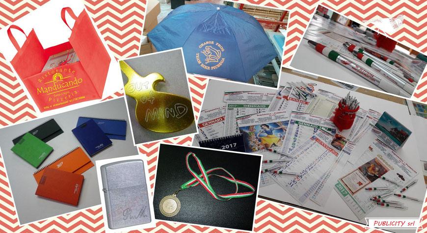 Gadgets tutti personalizzati - Calendari, penne, agende, planning, ombrelli, portapizza, portachiavi inciso, accendino inciso, medaglia premiazione