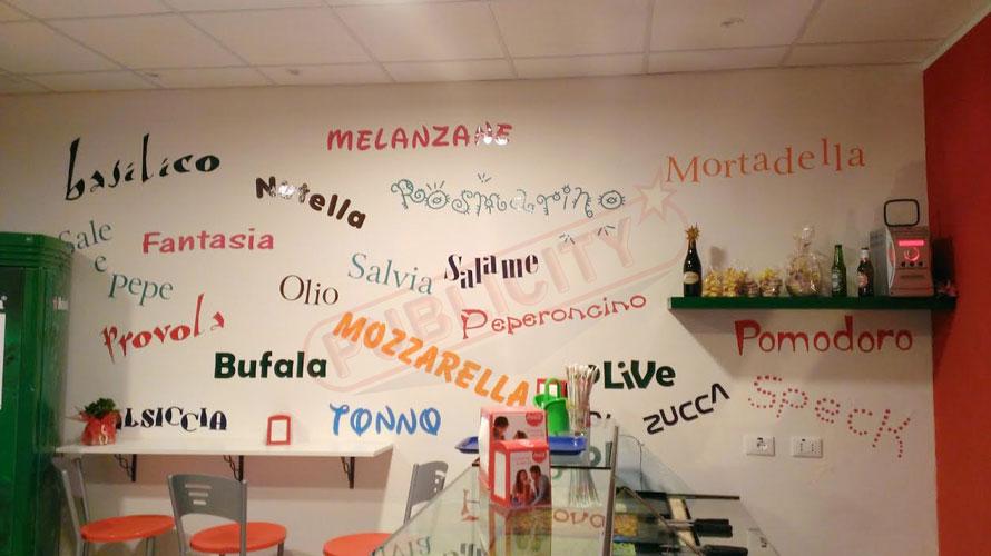 adesivo personalizzato, stickers customized, Scritte con pellicole adesive su muro
