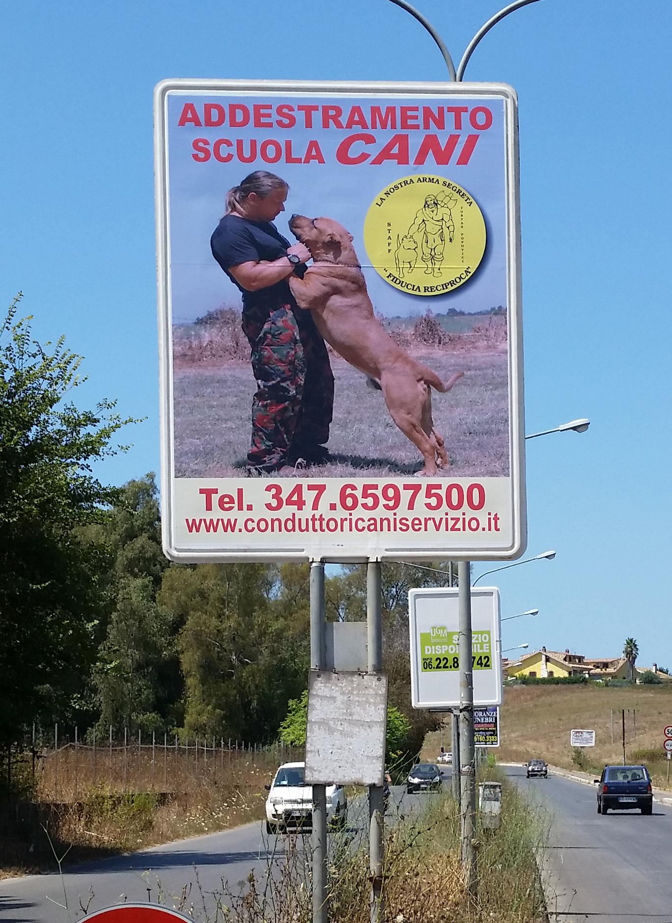 Cartello pubblicitario verticale  per la Scuola di addestramento cani di Tobyas Popovici