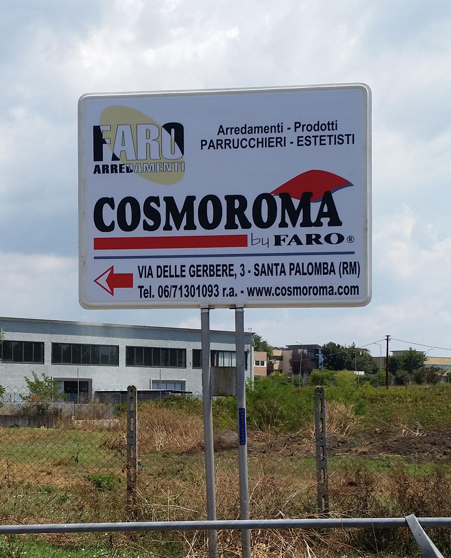 Cartello pubblicitario orizzontale per arredamenti e prodotti  parrucchieri ed estetisti Faro arredamenti - Cosmoroma a Santa Palomba (RM)