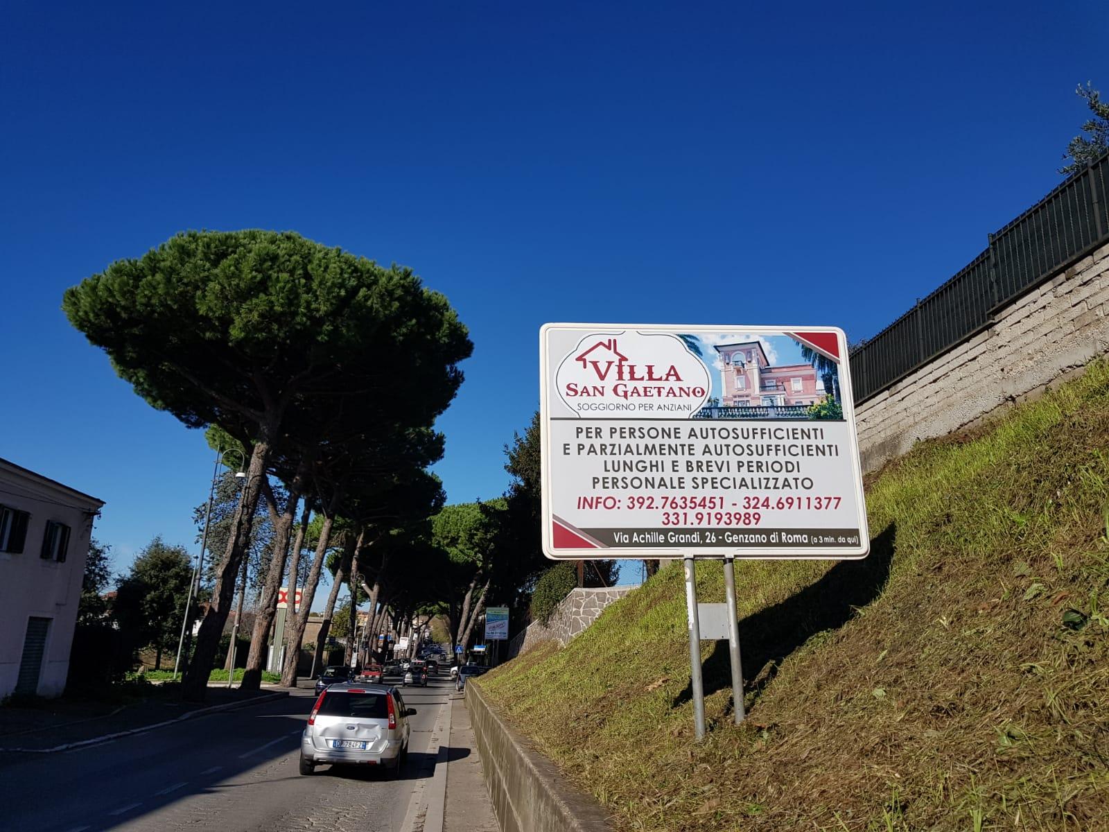 Cartello pubblicitario orizzontale - zona Genzano di Roma,  per il soggiorno Anziani Villa San Gaetano