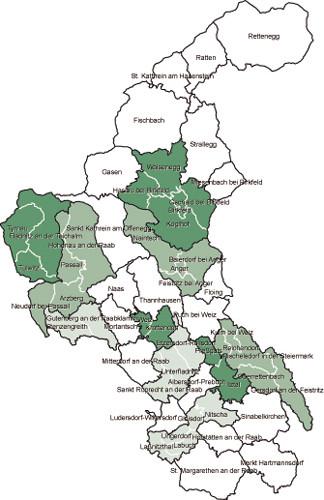 Gemeinden im Bezirk Weiz ab 2015