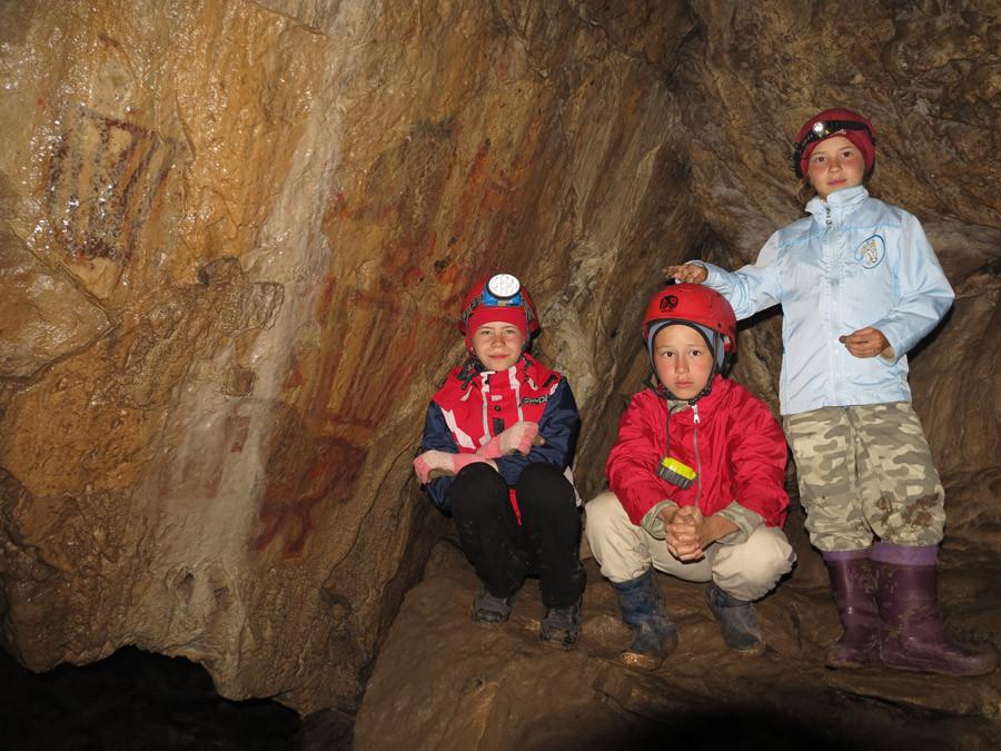 Olyesa, Maxime and Anastasiya in Kapova Cave