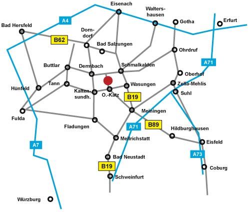 Anfahrtsplan Kunststation Oepfershausen