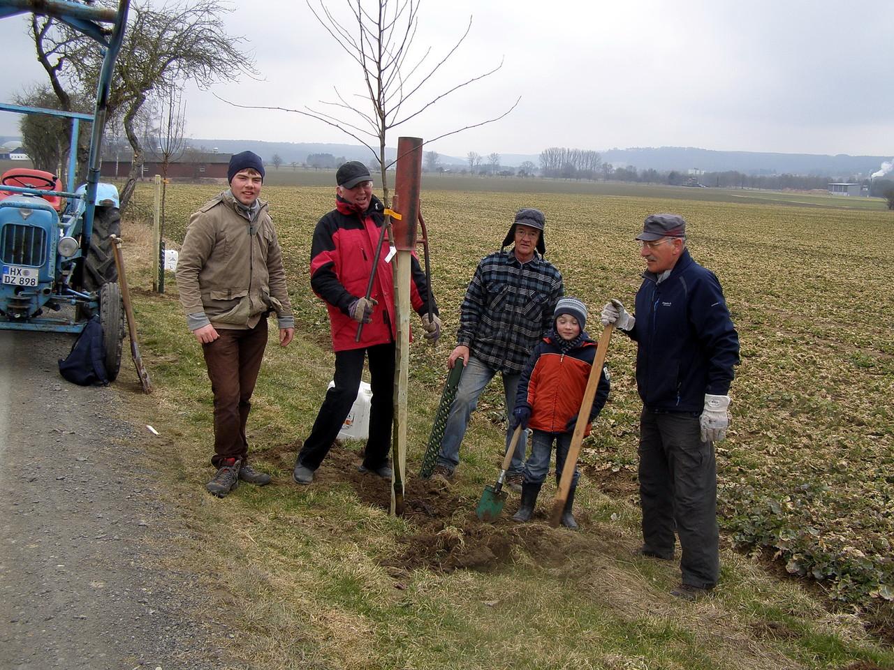 Gemeinsam wurden dann 10 Birnbäume gepflanzt.