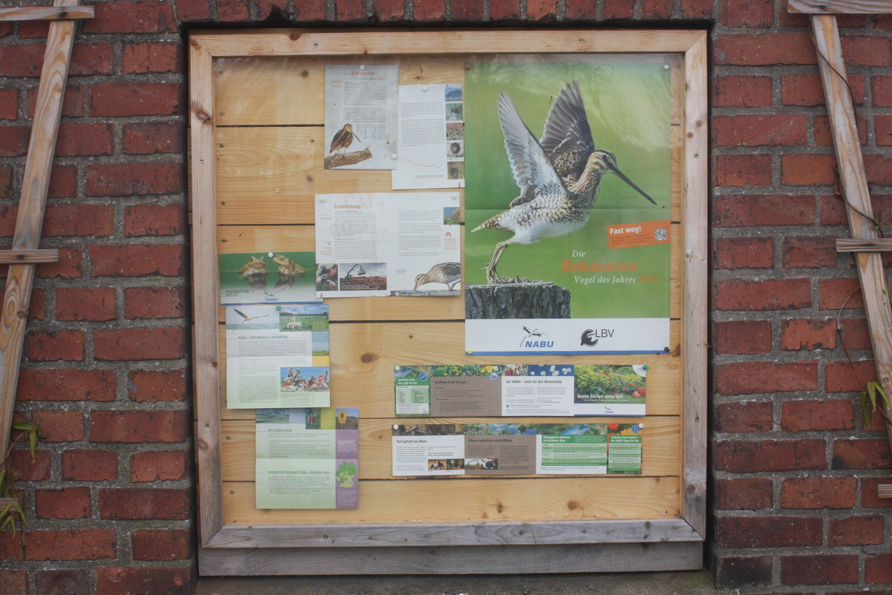 Auch der Schaukasten am Trafoturm wurde aktualisiert und informiert nun über den Vogel des Jahres 2013 - die Bekassine.