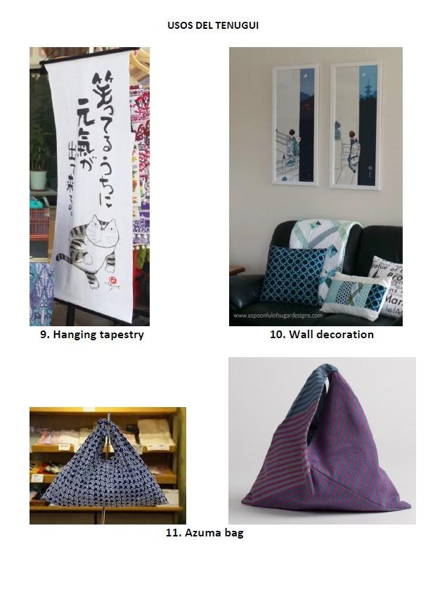 usos del tenugui, bolsa azuma, decoración de pared