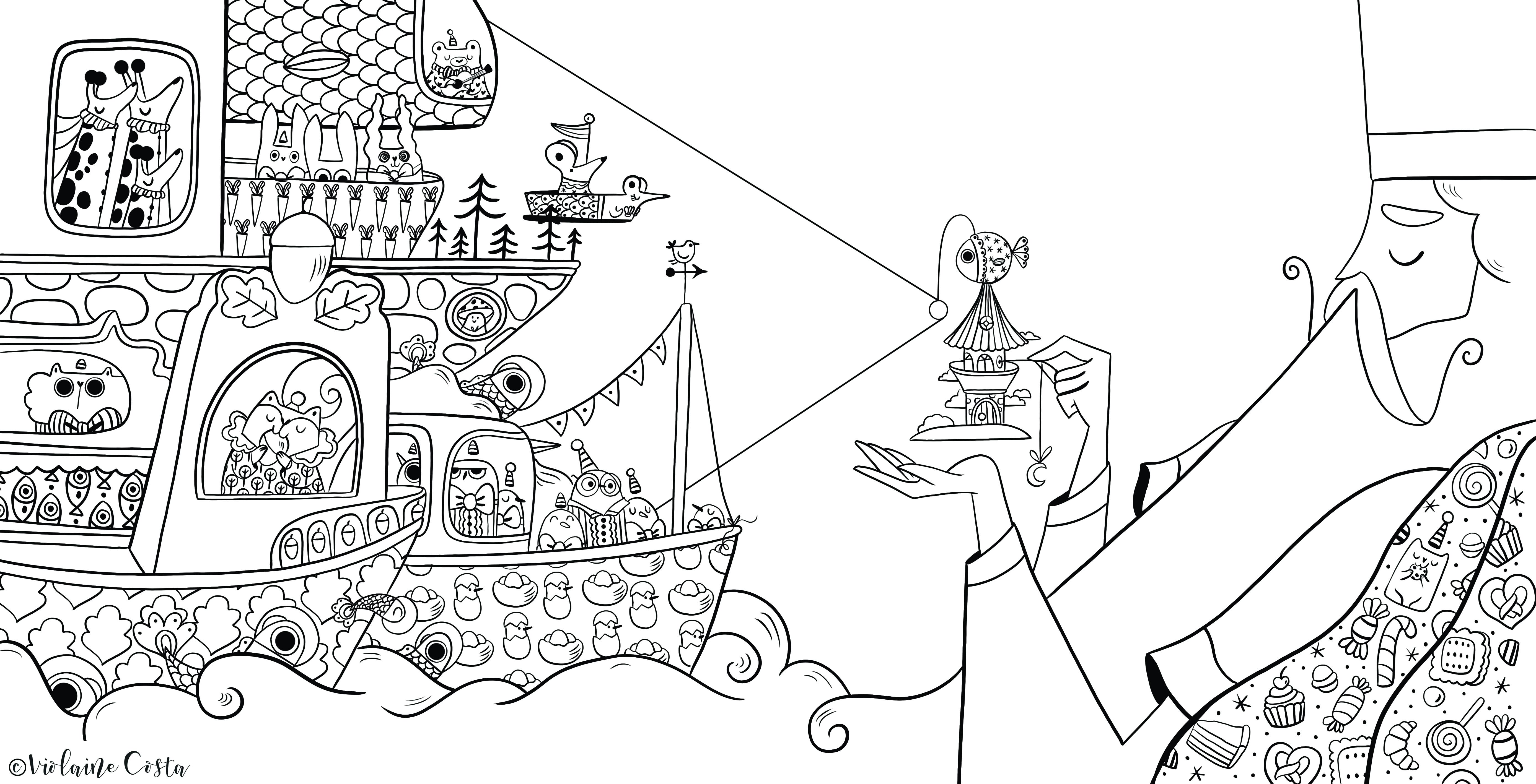 coloriages illustrations pour enfant livres feutre imprimable animaux fantastiques motifs