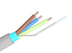 geschirmtes Kabel Typ NYM(St) mit Isolierschlauch auf Beidraht