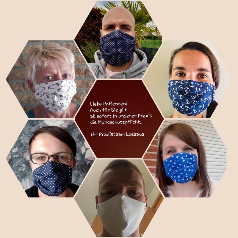Wir tragen die Masken schon lange. Ab morgen 27.04.2020 gilt auch die Maskenpflicht für unsere Patienten. Bleibt gesund ......