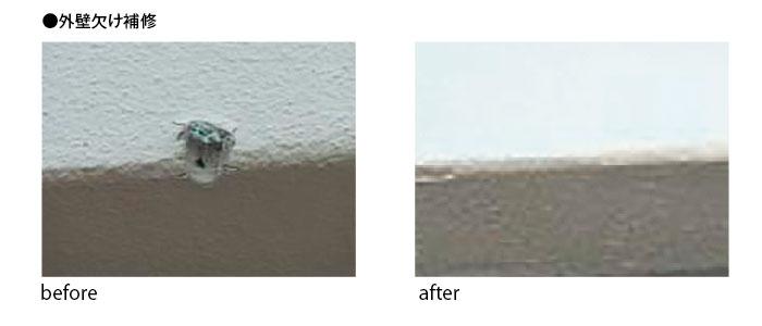 外壁欠け補修