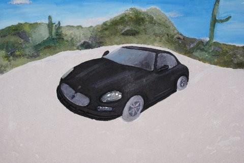 Maserati aus Acryl, Sand, Gel, Autogips, Glas