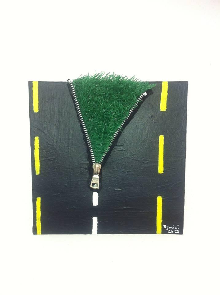 Strassenbau; Ein Geschenk an einen guten Freund, der im Strassenbau arbeitet. Gefertigt aus Kunstrasen, Reissverschluss u. Acrylgel