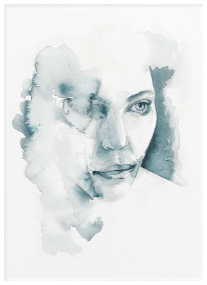 Acryldruck, 25.4cm x 35.5cm, Titel: Einäugig, Aquarellarbeit, 2018 Damaris Rohner