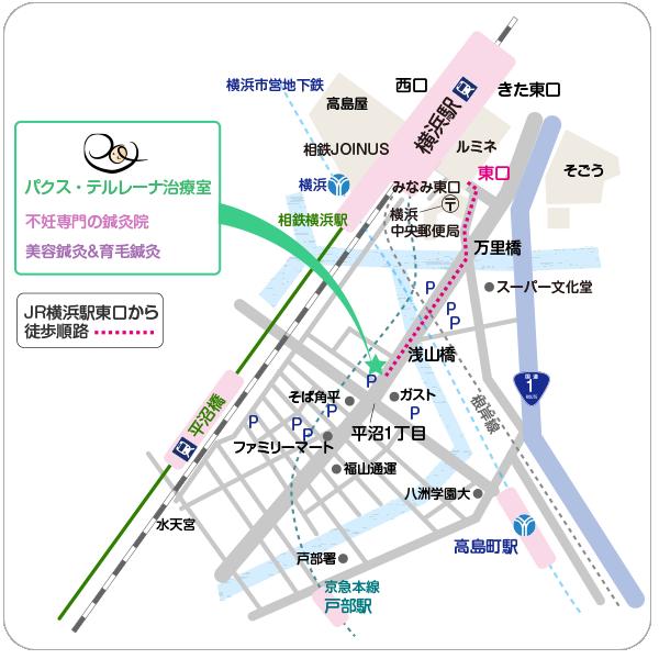 横浜の不妊鍼灸院のアクセス地図