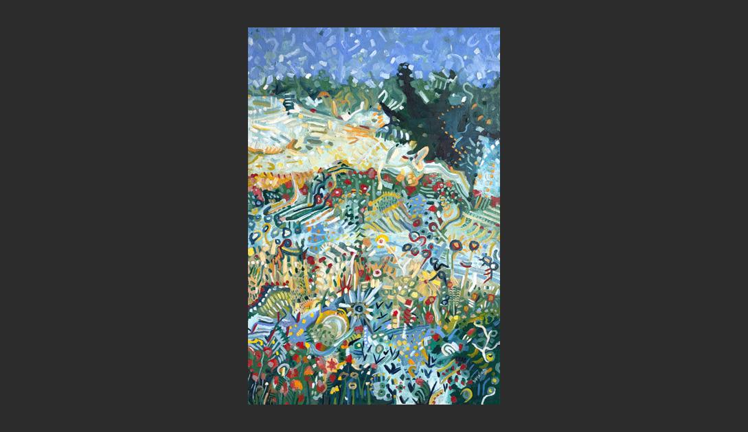 """""""Blühende Wiese"""" von Maxime Guinard, 2019, Öl auf Leinwand, 120x80 cm"""