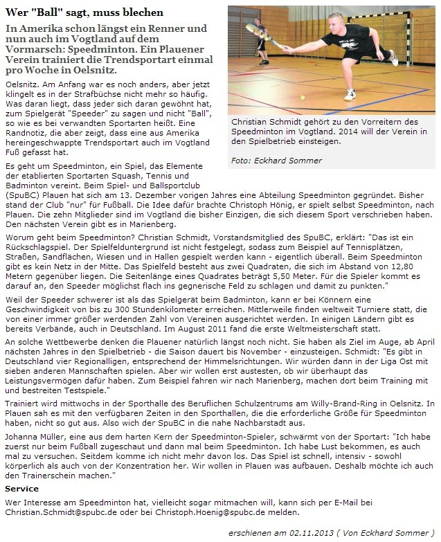 Freie Presse vom 02.11.2013