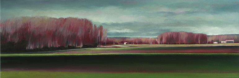 Horizon de printemps - 20x60 cm - Huile sur toile