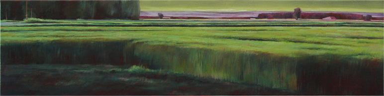 Horizon vert - 20x80 cm - Huile sur toile