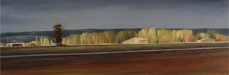 Horizon d'hiver - 20x60 cm - Huile sur toile