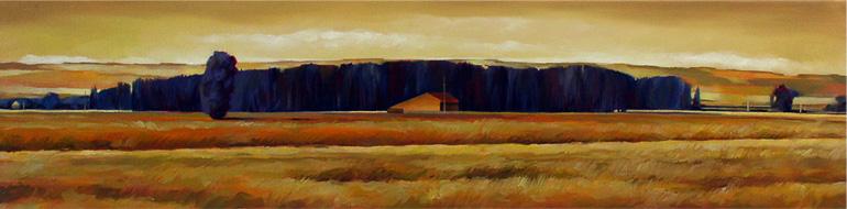Horizon jaune - 20x80 cm - Huile sur toile