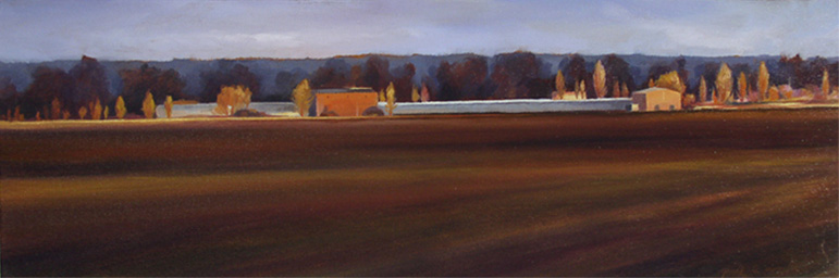 Horizon St Jory - 20x60 cm - Huile sur toile