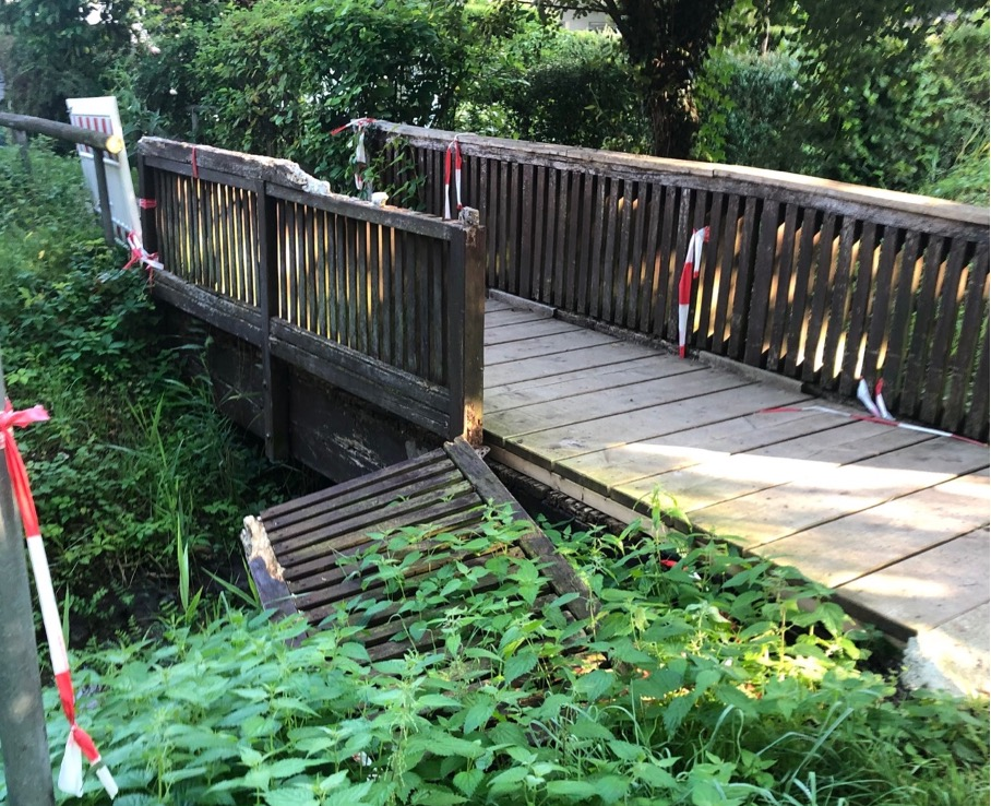 Brücke gesperrt in Gundernhausen