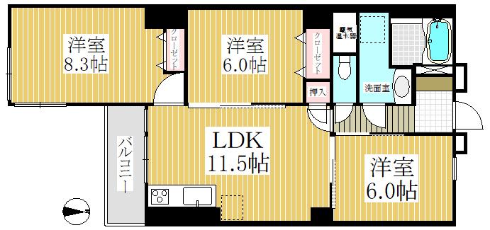 狛江市の中古マンション 狛江リリエンハイム【7階・3LDK・69.83㎡】 間取り図