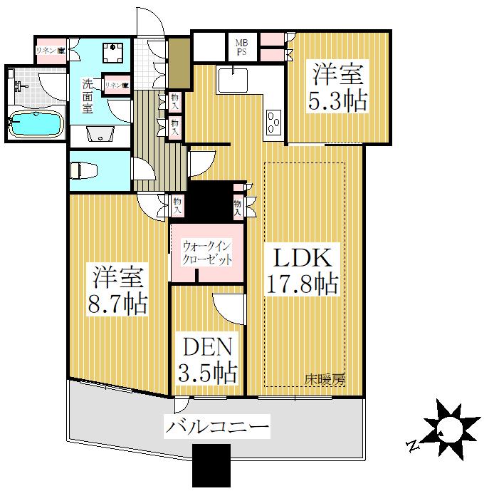 狛江市の中古マンション ワコーレ狛江ガーデン【4階・3LDK・78.32㎡】 間取り図