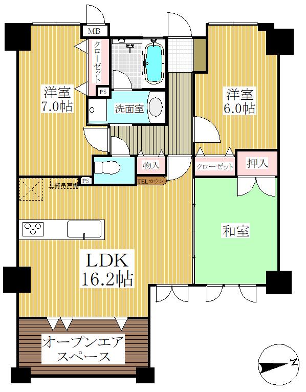 狛江市の中古マンション 京王柴崎コーポラス 【4階・3LDK・66.99㎡】 間取り図