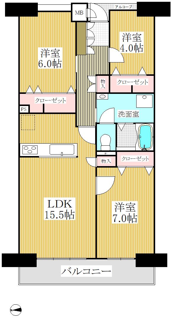 狛江市の中古マンション 豊栄狛江マンション 【4階・2SDK・55.13㎡】 間取り図