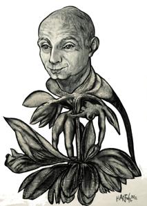 Portrait L.G.  2013, 50 x 70 cm,  Holzkohle, Sibierische Kreide, Ölkreide, Acryl