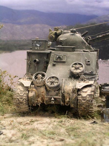 Deutlich zeichnen sich die zusätzliche Greifer an den Ketten auswärts ab- sie dienten Bergepanzern zu noch mehr Bodengriff.