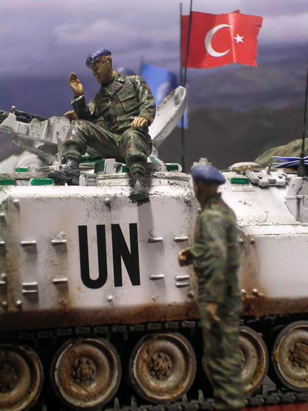 Die türkischen UN-Soldaten entstanden aus verschiedene Figurensätzen - typisch auch die UN-Barette in UN-Blau.