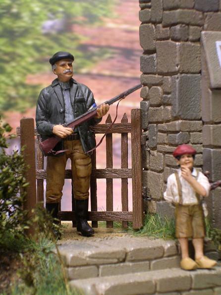 Großvater mit dem Jagdgewehr.