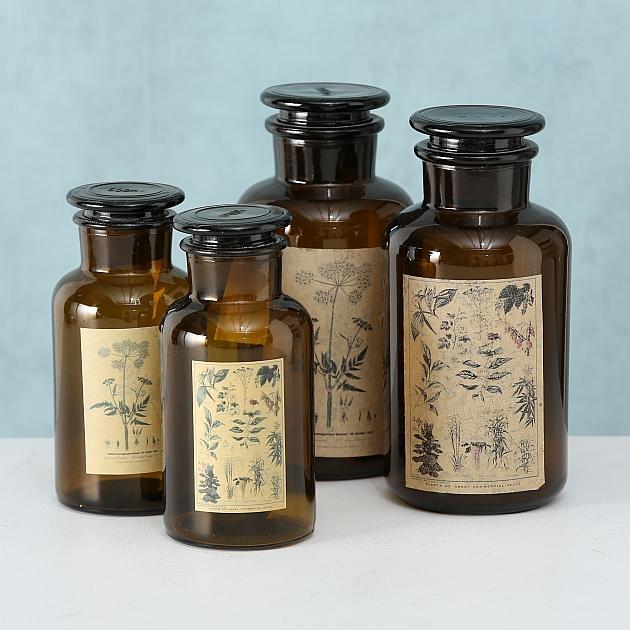 Vintage Apothekerglas mit Stopfen Braun Weithals Apothekengläser Glasdeckel Retro Chemieglas Apothekerflaschen mit Glasstopfen