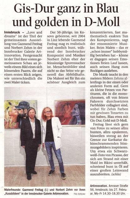 Gazmend Freitag, Norbert Zehm: Love and Dreams! Tiroler Tageszeitung am 3.02.2019