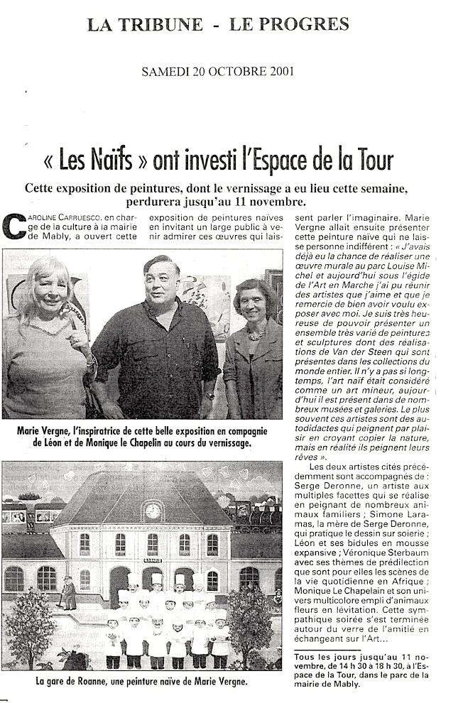 """""""Les Naïfs"""" ont investi l'Espace de la Tour - Le Progrès - 20/10/2001"""