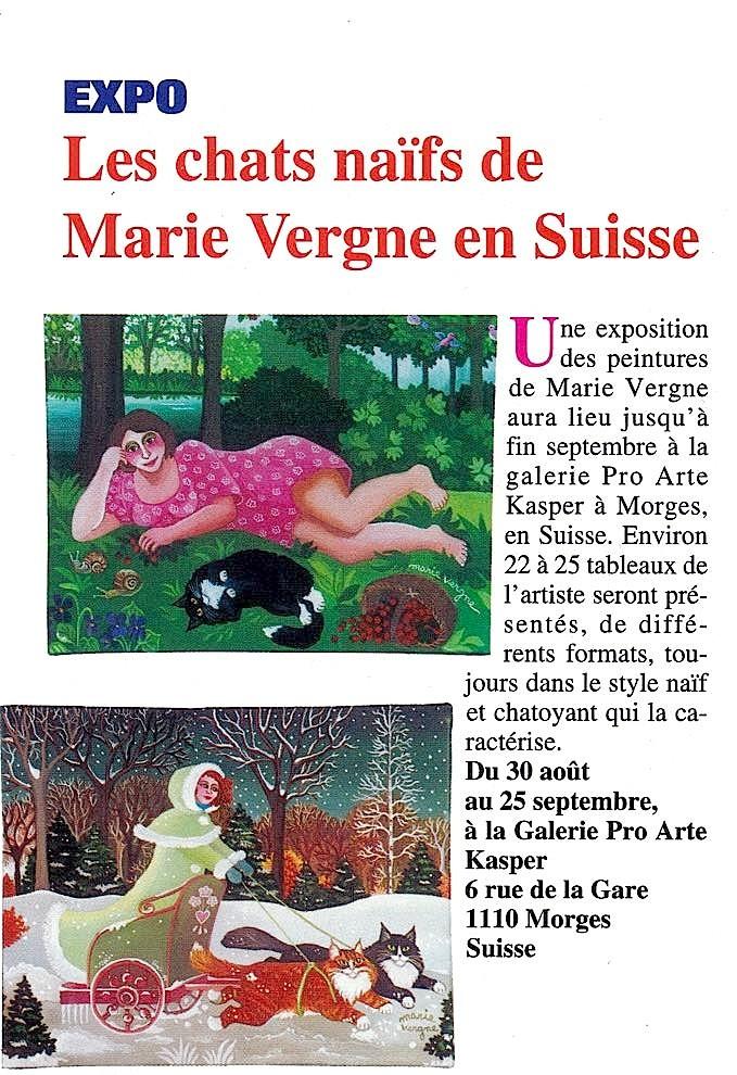 """""""Les chats naïfs de Marie Vergne en Suisse"""" - Atout Chat n°222 - Août 2003"""