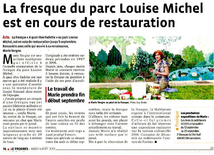 La fresque du parc Louise Michel est en cours de restauration - Le Progrès - 6/08/2013