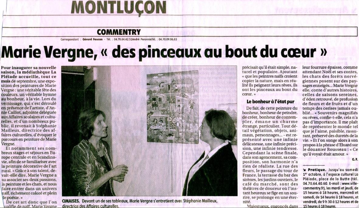 """Marie Vergne, """"des pinceaux au bout du coeur"""" - Par Gérard Faucon - Commentry - 7/09/2005"""