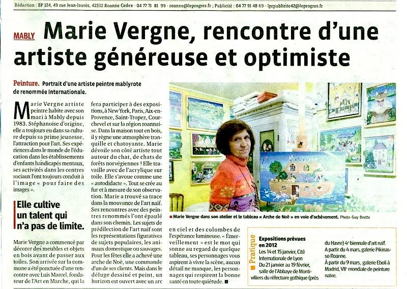 Marie Vergne, rencontre d'une artiste généreuse et optimiste - Le Progrès - 25/12/2011