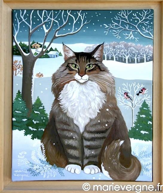 Le Chat Norvégien - Acrylique - Format 46 x 38 - Prix sur demande
