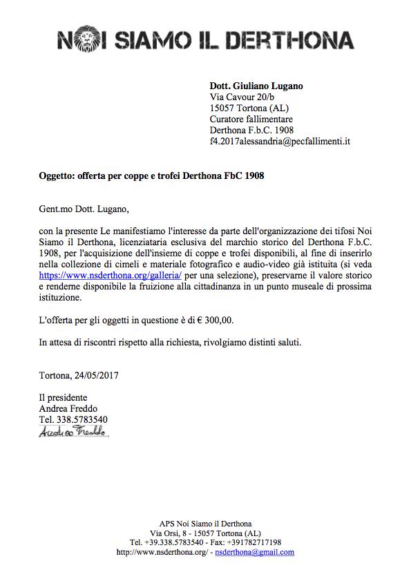 OFFERTA PER COPPE E TROFEI DERTHONA FBC 1908