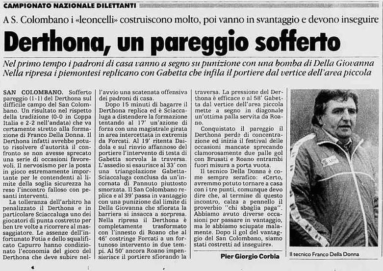 1995-96 SANCOLOMBANO-DERTHONA 1-1