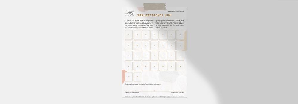 Trauertagebuch und Trauertracker für den Juni