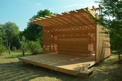 Cnantier éco construction - kiosque à musique en bois